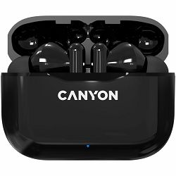 Canyon TWS-3 Bluetooth headset, with microphone, BT V5.0, Bluetrum AB5376A2, battery EarBud 40mAh*2+Charging Case 300mAh, cable length 0.3m, 62*22*46mm, 0.046kg, Black