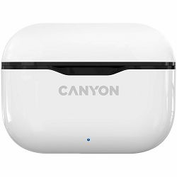 Canyon TWS-3 Bluetooth headset, with microphone, BT V5.0, Bluetrum AB5376A2, battery EarBud 40mAh*2+Charging Case 300mAh, cable length 0.3m, 62*22*46mm, 0.046kg, White