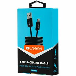 CANYON Lightning USB Cable for Apple, round, 1M, Black