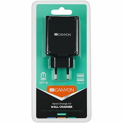 CANYON H-07 Universal 2xUSB AC charger (in wall) with over-voltage protection(1 USB with Quick Charger QC3.0), Input 100V-240V, Output USB/5V-2.4A+QC3.0/5V-2.4A&9V-2A&12V-1.5A, with Smart IC, Black ru