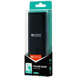 CANYON Power bank 10000mAh Li-poly battery, Input 5V/2A, Output 5V/2.1A, with Smart IC, Black, USB cable length 0.25m, 120*52*22mm, 0.210Kg