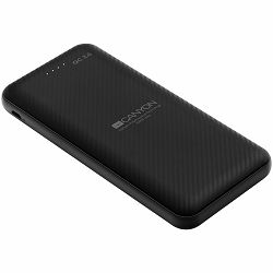 CANYON Power bank 10000mAh Li-poly battery, Input Micro/PD 18W(Max), Output PD/QC3.0 18W(Max), with Smart IC, Quick charging cable length 0.24m, 145.5*68.5*15.5mm, 0.24kg, Black