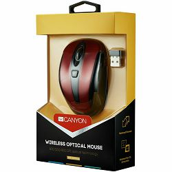 CANYON MSO-W6 2.4GHz wireless optical mouse with 6 buttons, DPI 800/1200/1600, Red, 92*55*35mm, 0.054kg