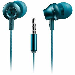 CANYON Stereo earphones with microphone, metallic shell, 1.2M, blue-green