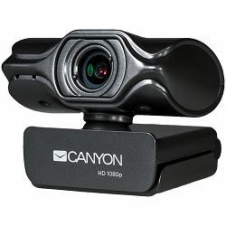 CANYON 2k Ultra full HD 3.2Mega webcam with USB2.0 connector, built-in MIC, Manual focus, IC SN5262, Sensor Aptina 0330, viewing angle 80°, with tripod, cable length 2.0m, Grey, 61.1*47.7*63.2mm, 0.18
