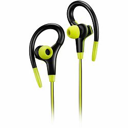 CANYON Stereo sport earphones with microphone, cable length 1.2m, Lime, 32*58*25mm, 0.017kg
