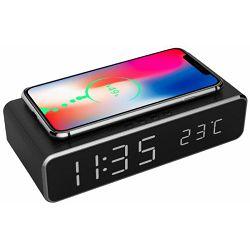 Gembird digitalni sat s funkcijama alarma i bežićnog punjenja, crne boje