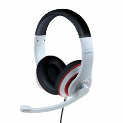 Gembird Stereo headset, white and black color with red ring