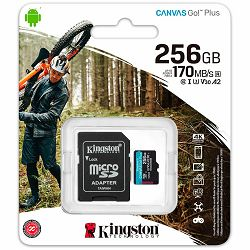 Kingston 256GB microSDXC Canvas Go Plus 170R A2 U3 V30 Card + ADP EAN: 740617301250