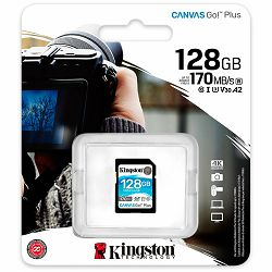 Kingston 128GB SDXC Canvas Go Plus 170R C10 UHS-I U3 V30 EAN: 740617301458