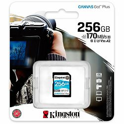 Kingston 256GB SDXC Canvas Go Plus 170R C10 UHS-I U3 V30 EAN: 740617301519