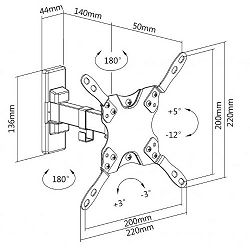 """SBOX okretni zidni stalak 13""""-43"""",33-109cm,do 20kg"""
