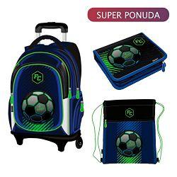 Set školski Football - Ruksak s kotačićima, pernica puna i vrećica za tjelesni