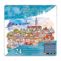 Umjetničke drvene bojice aquarel Cretacolor Marino Edition Rovinj 24 kom u metalnoj kutiji 240 24-0001